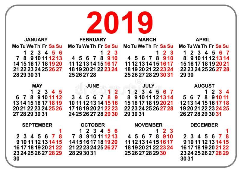 primo giorno lunedì di griglia 2019 del calendario compatto della tasca illustrazione di stock