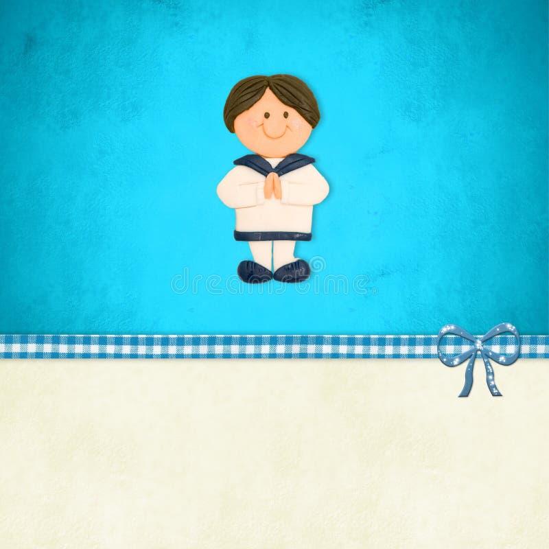 Primo invito di comunione, vestito di marinaio del ragazzo royalty illustrazione gratis