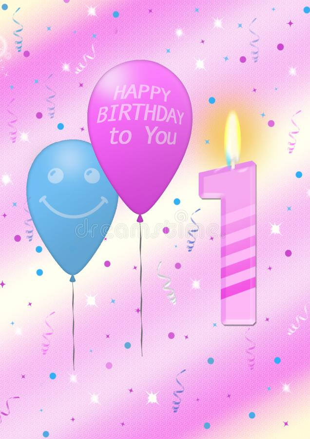 Primo manifesto di compleanno con la candela royalty illustrazione gratis