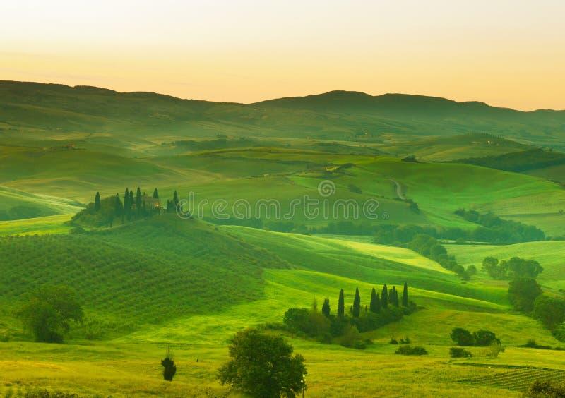 Primo mattino sulla Toscana fotografie stock