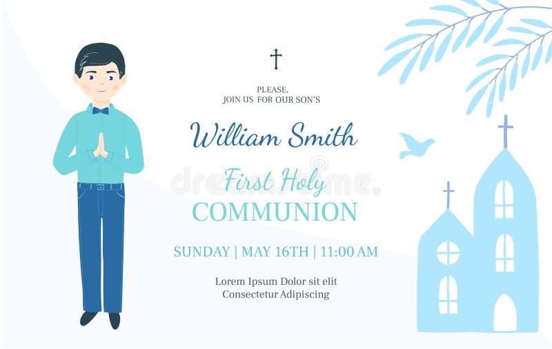 Primo modello di progettazione dell'invito di comunione santa Il ragazzo cristiano prega royalty illustrazione gratis