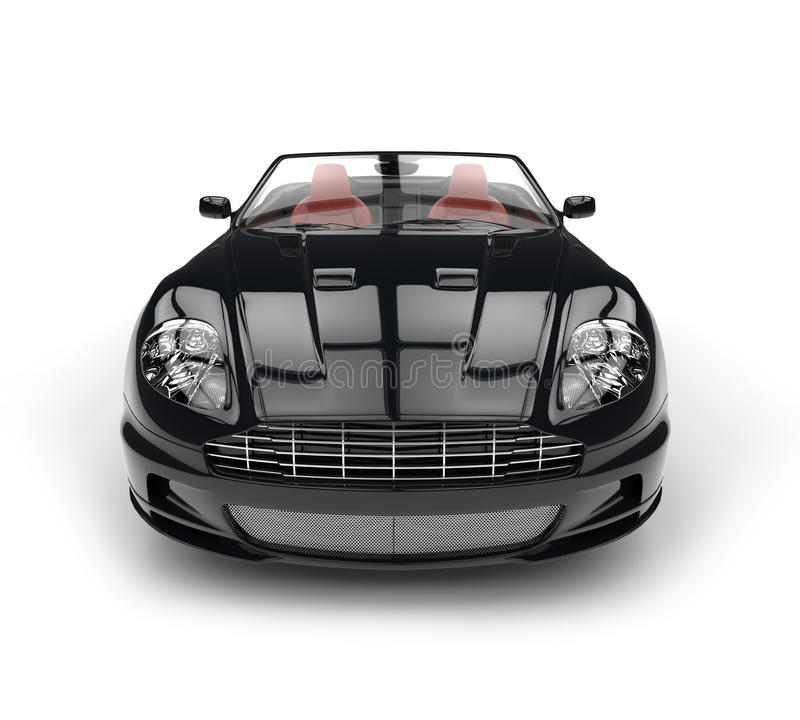 Primo piano automobilistico di estremo di vista frontale di sport convertibili neri royalty illustrazione gratis