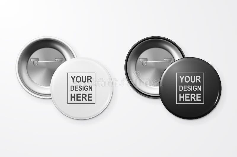 Primo piano in bianco in bianco e nero realistico del distintivo del bottone di vettore 3d isolato su fondo bianco Modello di pro illustrazione vettoriale