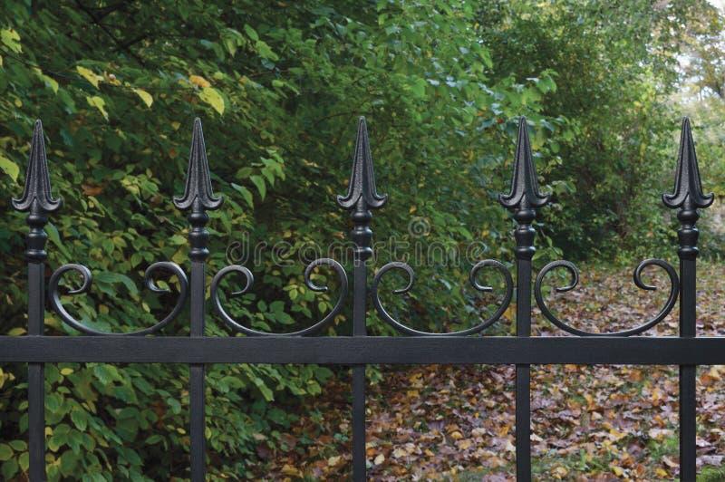 Primo piano decorativo nero forgiato del recinto del ferro battuto, fondo autunnale degli alberi, scena dettagliata orizzontale c fotografia stock