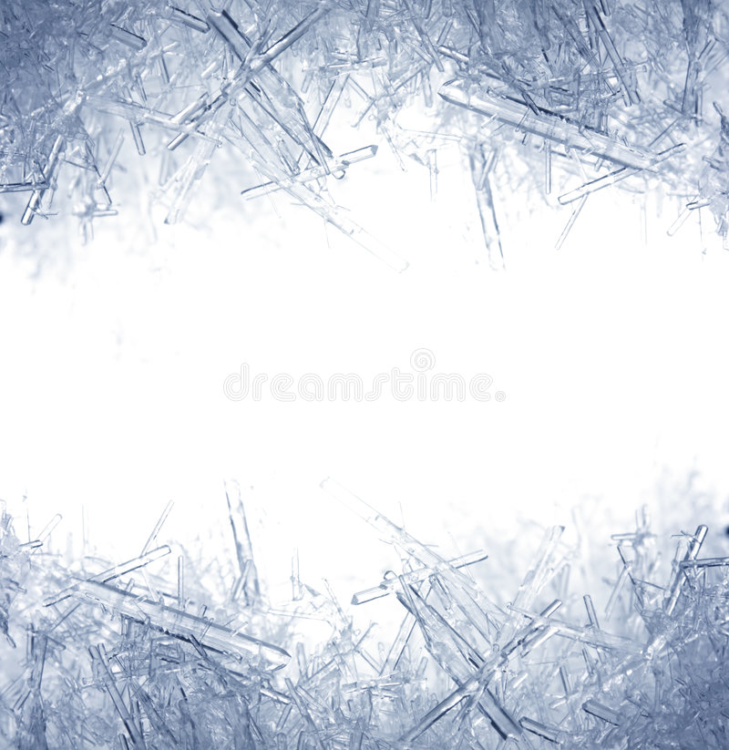 Primo piano dei cristalli di ghiaccio fotografia stock