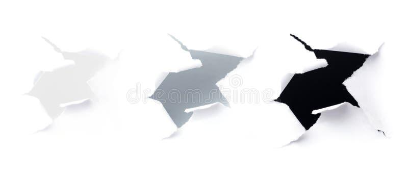 Primo piano dei fori di oscurità su Libro Bianco illustrazione di stock