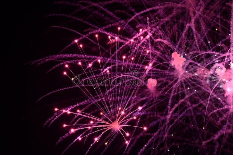 Primo piano dei fuochi d'artificio porpora vivi con le scintille fotografia stock