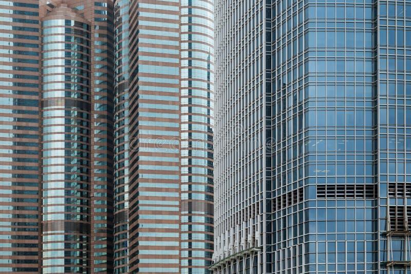 Primo piano dei grattacieli in Hong Kong fotografia stock libera da diritti