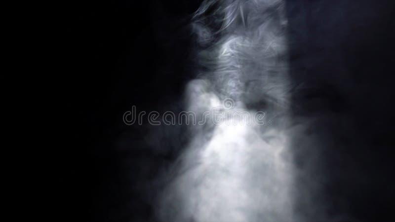 Primo piano dei soffi di fumo bianchi che turbinano in un fascio luminoso nella stanza scura azione Fumo nell'oscurit? immagini stock libere da diritti