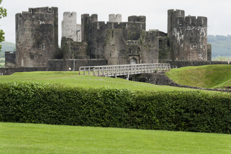 Primo piano del castello di Caerphilly immagine stock