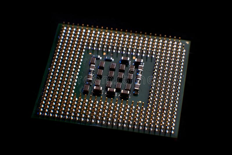 primo piano del CPU per il pc ed il computer portatile fotografia stock