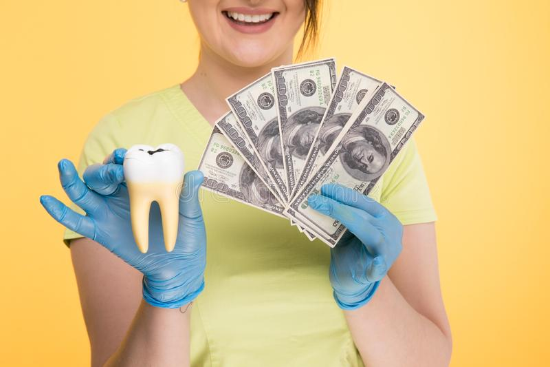 Primo piano del dente bianco della tenuta della mano di una persona immagine stock libera da diritti