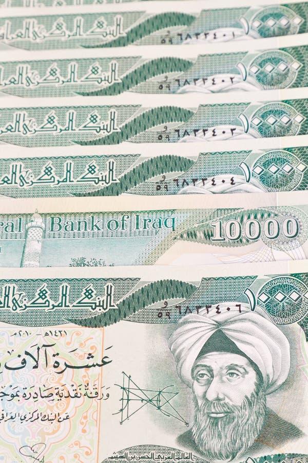 Primo piano del dinaro iracheno immagine stock