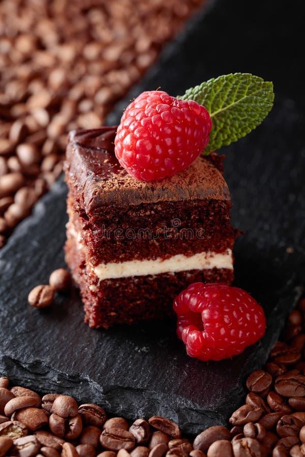 Primo piano del dolce di cioccolato con il lampone fotografia stock libera da diritti