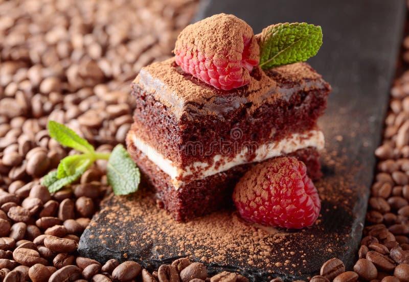 Primo piano del dolce di cioccolato con il lampone e la menta su uno spirito della tavola fotografie stock libere da diritti