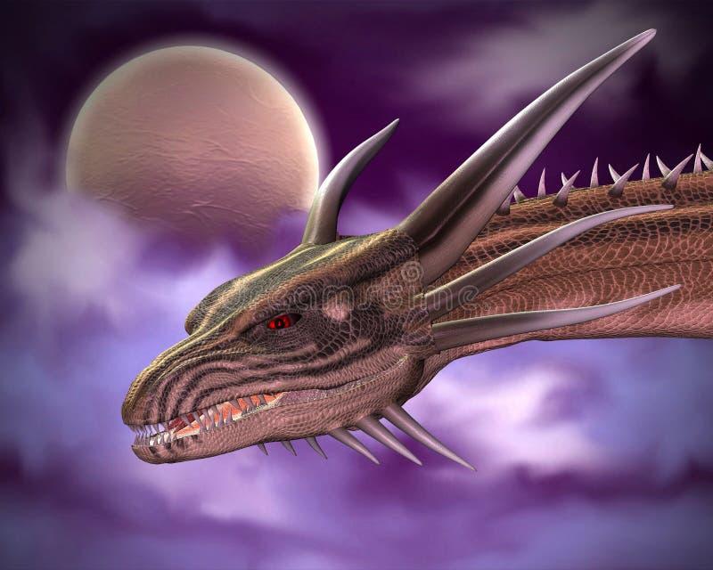 Primo piano del drago nella luce della luna illustrazione vettoriale