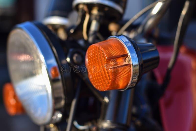 Primo piano del faro del veicolo, spazio, lampada laterale immagine stock libera da diritti