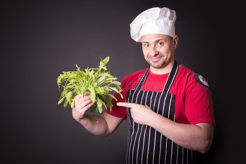 Primo piano del fascio felice della rucola della tenuta del cuoco unico fotografia stock libera da diritti