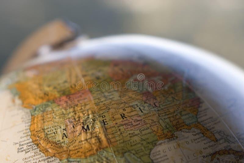 Primo piano del globo degli S.U.A. immagini stock