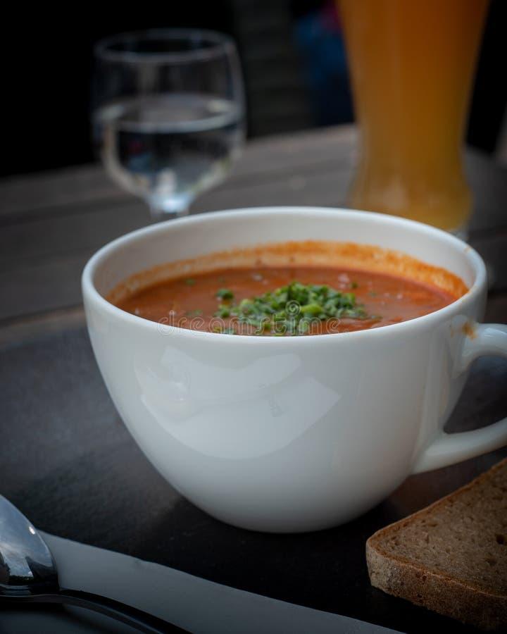 Primo piano del goulash in caffè fotografie stock libere da diritti