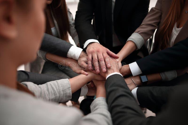 Primo piano del gruppo di affari delle mani che mostra unità con un le loro mani immagini stock libere da diritti
