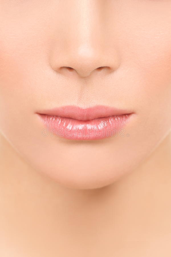 Primo piano del naso e della bocca - donna del fronte di bellezza immagine stock