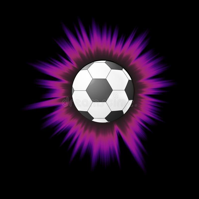 Primo piano del pallone da calcio a colori l'attrezzatura di calcio di scoppio isolata su fondo nero Stile del fumetto illustrazione di stock