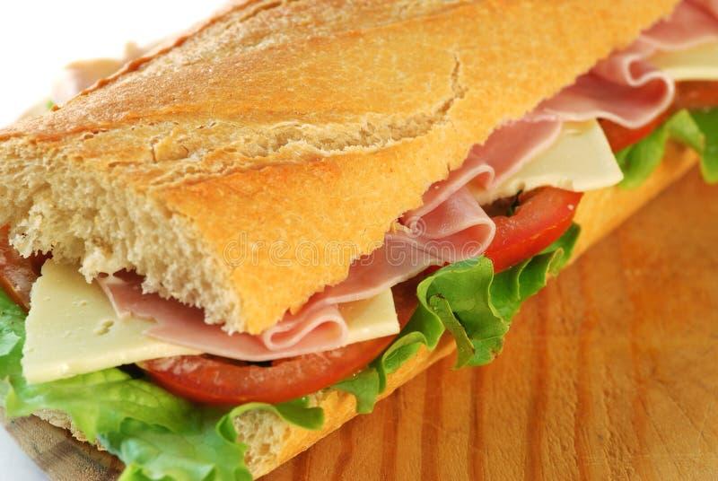 Primo piano del panino del Baguette fotografia stock libera da diritti