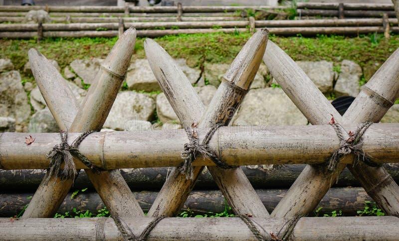Primo piano del recinto di legno giapponese fotografie stock