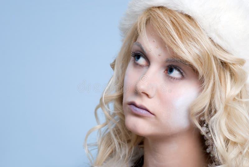 Primo piano del ritratto della donna del ghiaccio fotografia stock