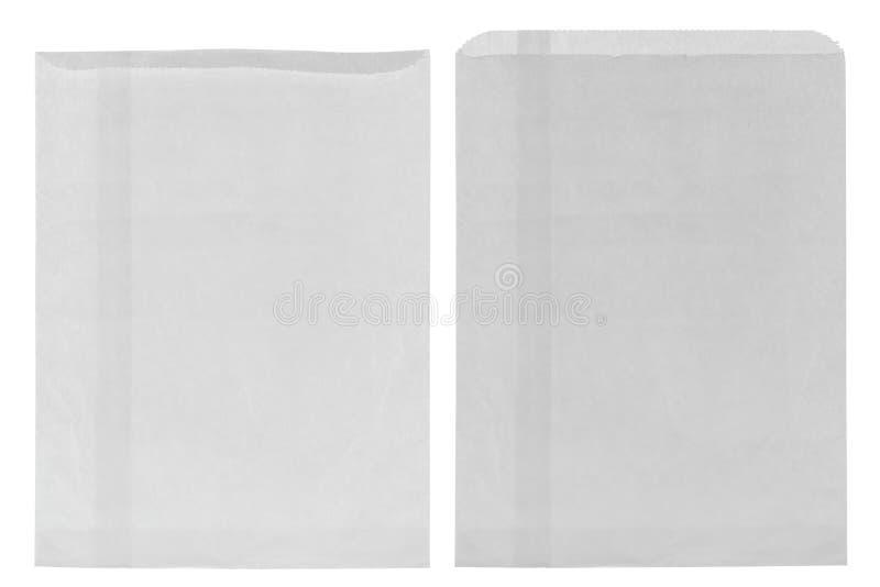 Primo piano del sacco di carta della drogheria bianca sottile rugosa, anteriore in bianco e immagini stock libere da diritti