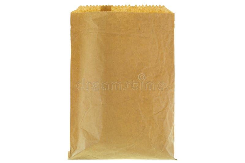 Primo piano del sacco di carta della drogheria marrone sottile rugosa, anteriore in bianco e fotografie stock libere da diritti