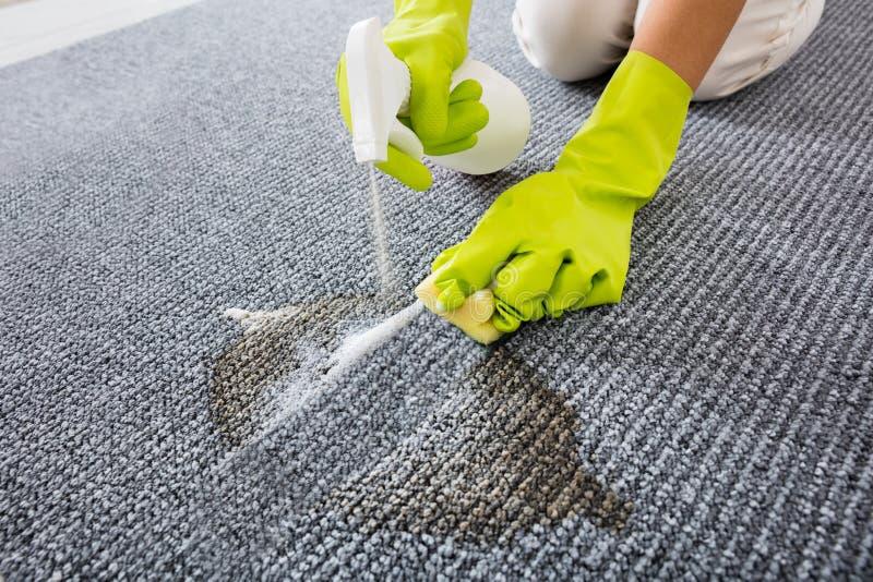 Primo piano del tappeto di Person Hand Spraying Detergent On immagine stock