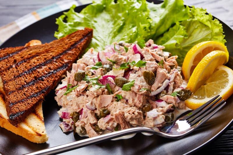 Primo piano del tonno, dei capperi e dell'insalata della cipolla rossa fotografia stock