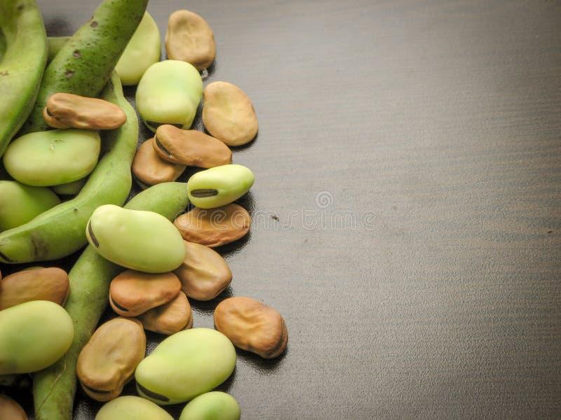 Primo piano del vicia faba asciutto e fresco dei semi delle fave e fave crude selezionate fresche nel baccello sulla tavola di le immagine stock
