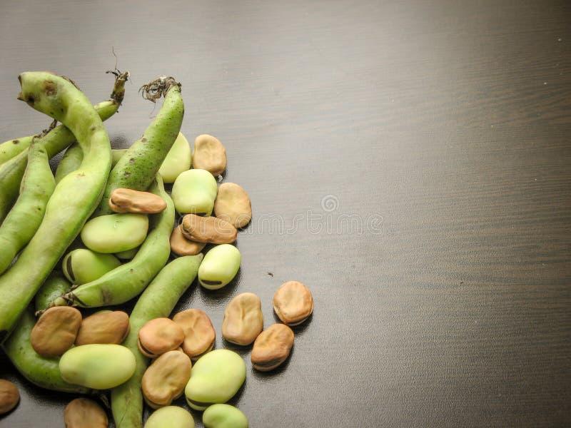 Primo piano del vicia faba asciutto e fresco dei semi delle fave e fave crude selezionate fresche nel baccello sulla tavola di le fotografia stock libera da diritti