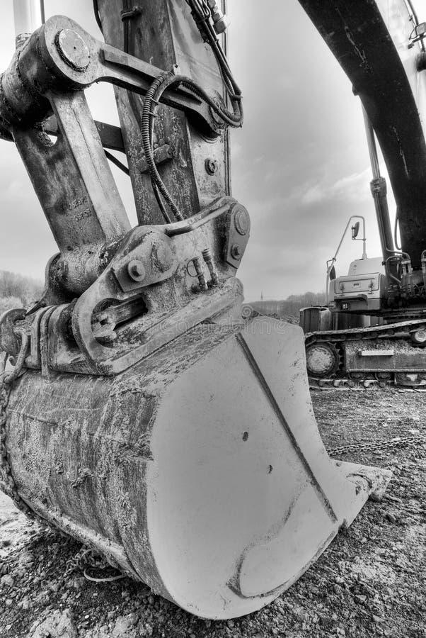 primo piano dell'escavatore a cucchiaia rovescia fotografia stock