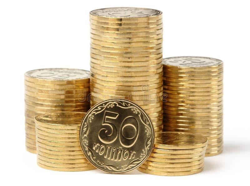 Primo piano dell'monete dorate immagine stock
