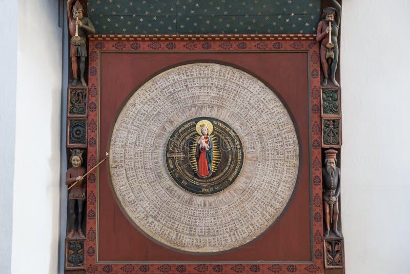 Primo piano dell'orologio astronomico di Danzica a Danzica fotografia stock libera da diritti