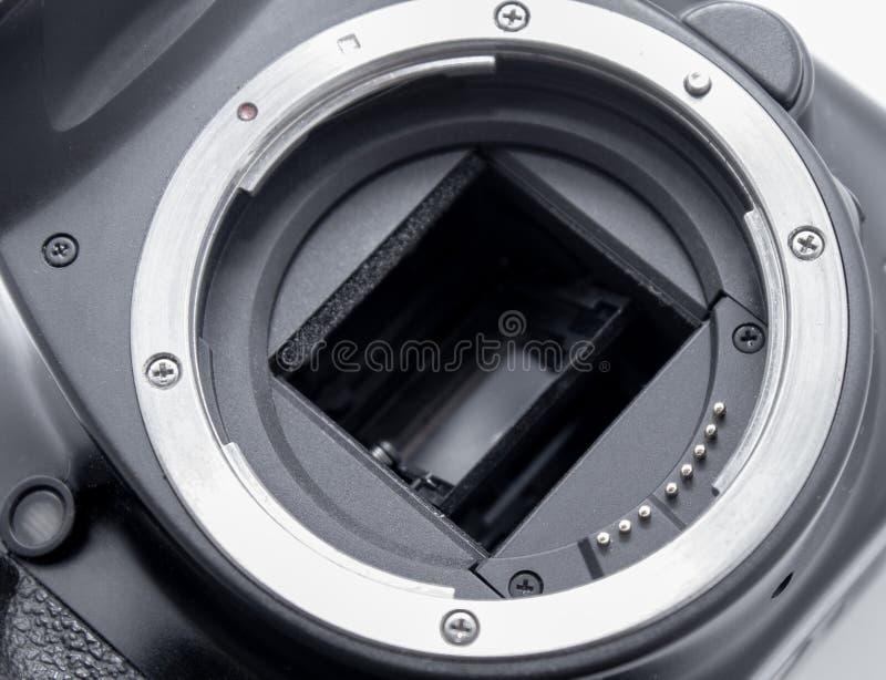 Primo piano della baionetta della macchina fotografica Connettore con una lente fotografie stock