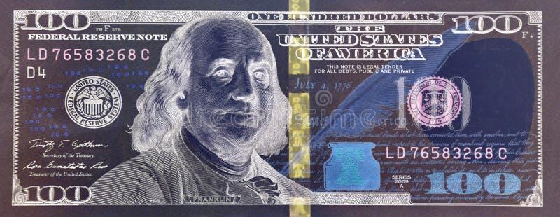 primo piano della banconota di 100 dollari fotografie stock