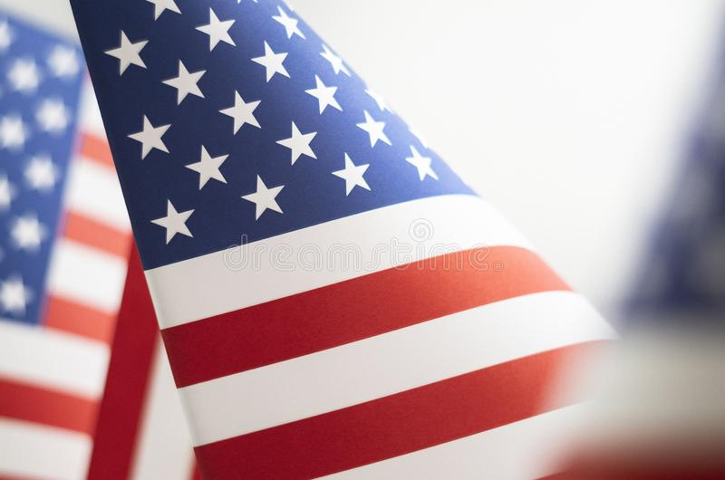 Primo piano della bandiera americana di stelle e strisce fotografia stock