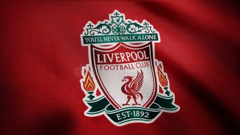 Primo piano della bandiera d'ondeggiamento con il logo del club di calcio di FC Liverpool, ciclo senza cuciture Animazione editor fotografie stock