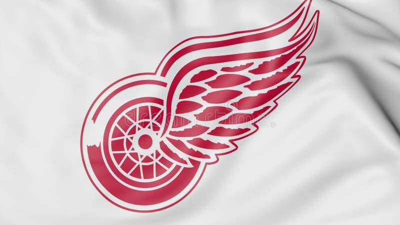 Primo piano della bandiera d'ondeggiamento con il logo della squadra di hockey del NHL di Detroit Red Wings, rappresentazione 3D illustrazione di stock