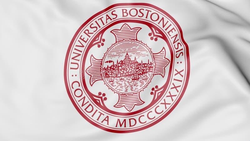 Primo piano della bandiera d'ondeggiamento con la rappresentazione dell'emblema 3D dell'università di Boston illustrazione vettoriale