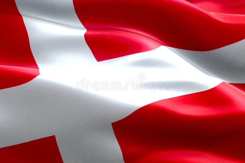 Primo piano della bandiera d'ondeggiamento della Danimarca del dannebrog dell'illustrazione, con fondo rosso e l'incrocio bianco, illustrazione vettoriale