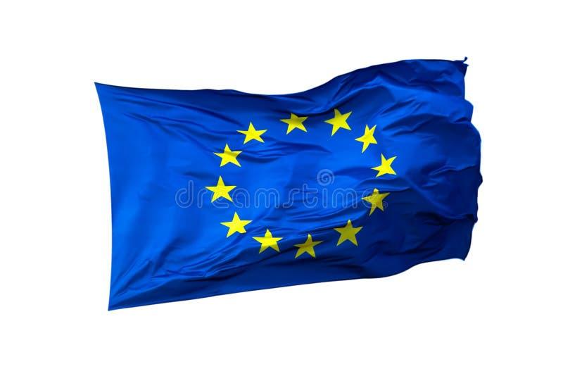 Primo piano della bandiera di UE isolato su fondo bianco fotografie stock libere da diritti