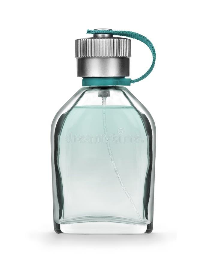 Primo piano della bottiglia di profumo del ` s degli uomini su un bianco fotografia stock