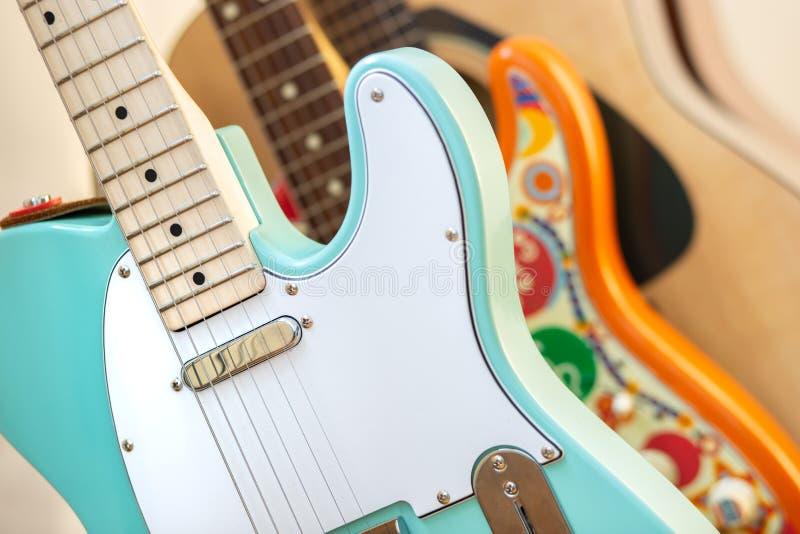 Primo piano della chitarra elettrica fotografia stock