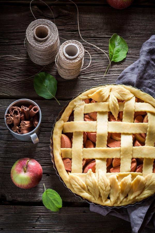 Primo piano della crostata casalinga con le mele e la cannella fotografia stock libera da diritti